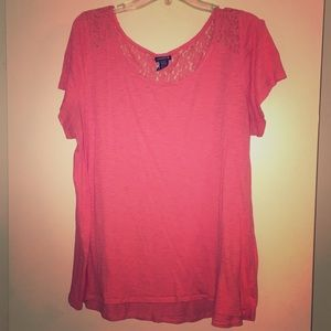 Torrid coral color burnout tee will lace detail